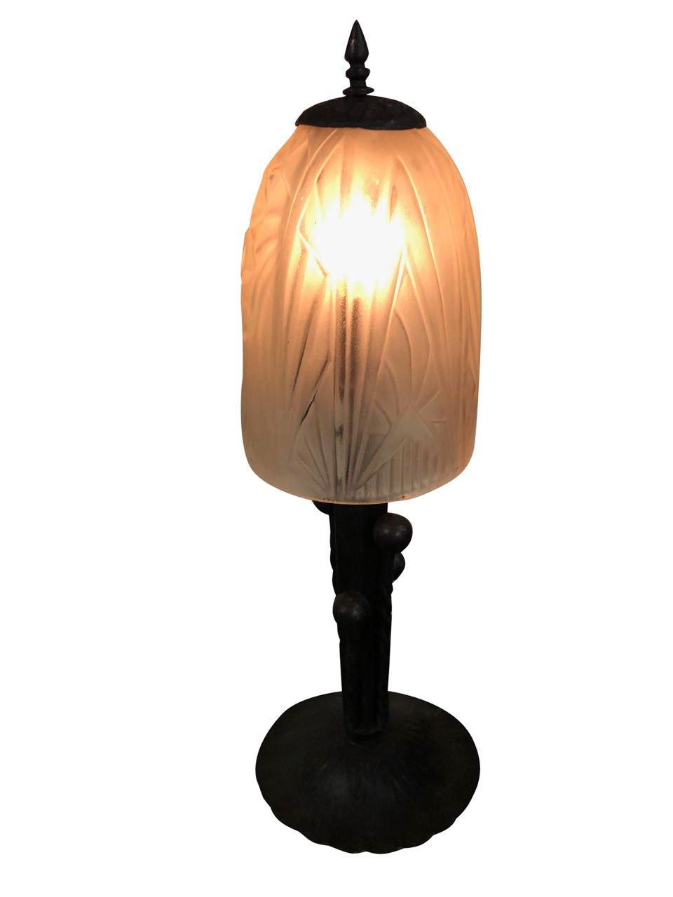 French Art Deco Table Lamp Fer Forge Modernist Glass