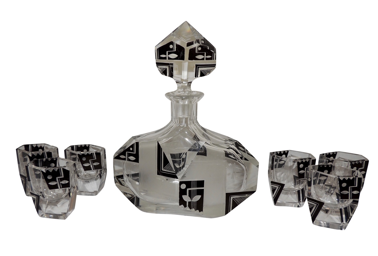 Modernist Czech Decanter Set