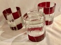 Art Deco Whiskey Set in Red and Black with High Ball  Glasses