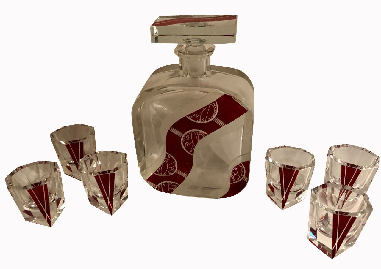 Art Deco Decanter Set in Red and Clear Czech Crystal