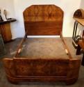 French Art Deco Queen Size Bed European Burl WalnutFrench Art Deco Queen Size Bed European Burl Walnut
