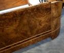 French Art Deco Queen Size Bed European Burl Walnut