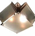 Modernist French Nickel and Glass Geometric Art Deco Chandelier