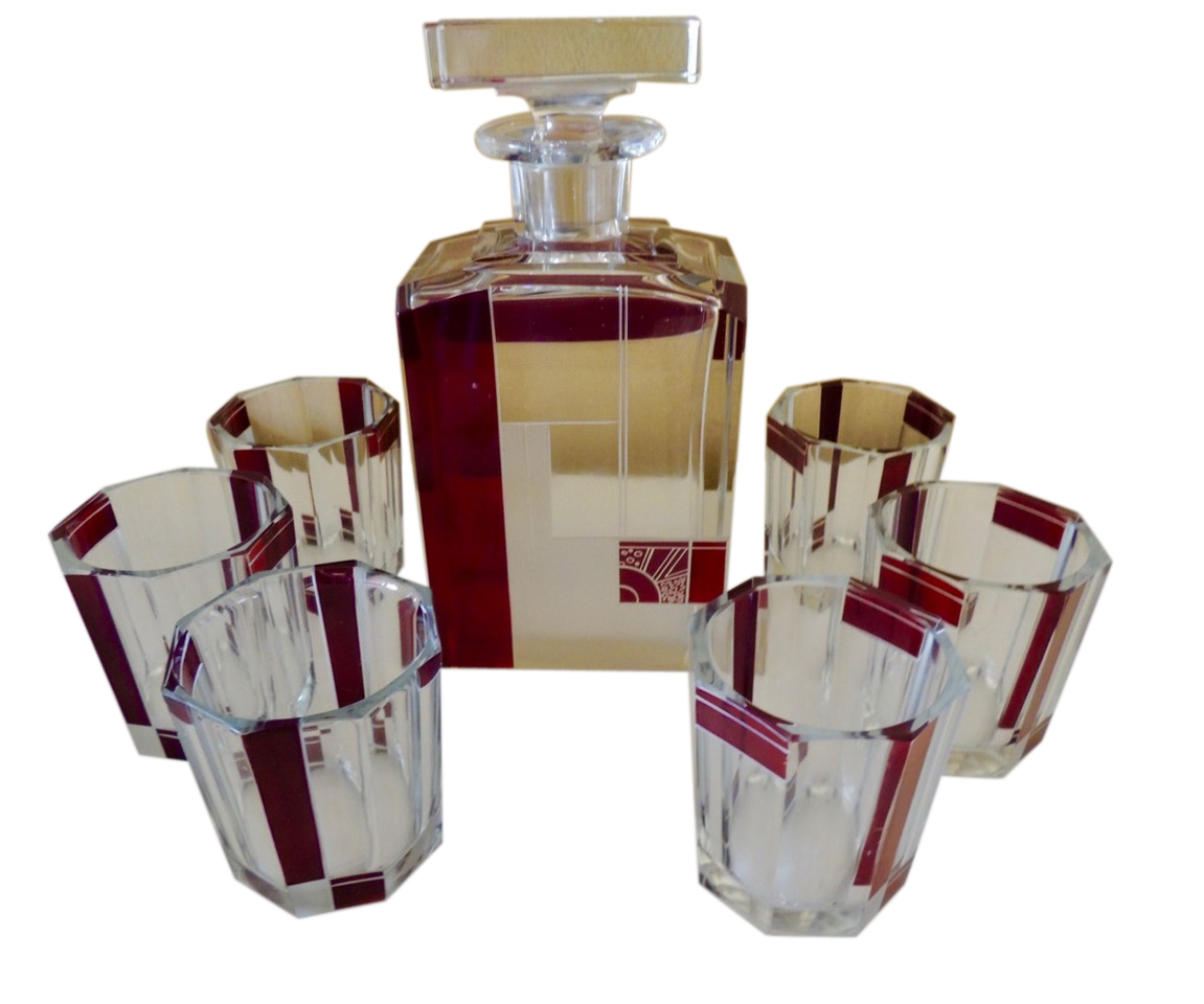 Art Deco Czech Whiskey Decanter and Glass Set