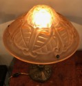 French Art Deco Degue Pink & Bronze Table Lamp