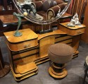 Art Deco Modernist Vanity with Mirror and Stool Two-Tone Wood