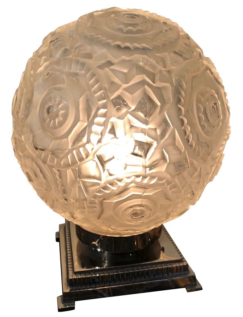French Art Deco Clear Round Art Glass on Nickel Metal base