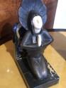 Roland Paris Bronze Ivoroid Praying Bookends Art Deco Iron Marble
