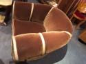 Art Deco Mohair & Leather Glamour Club Chair Hollywood