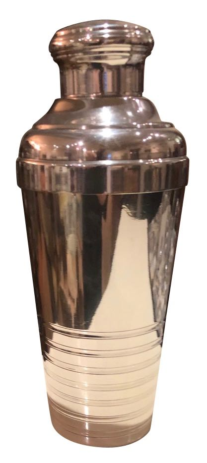 Art Deco French Streamline Cocktail Shaker Silver Plate