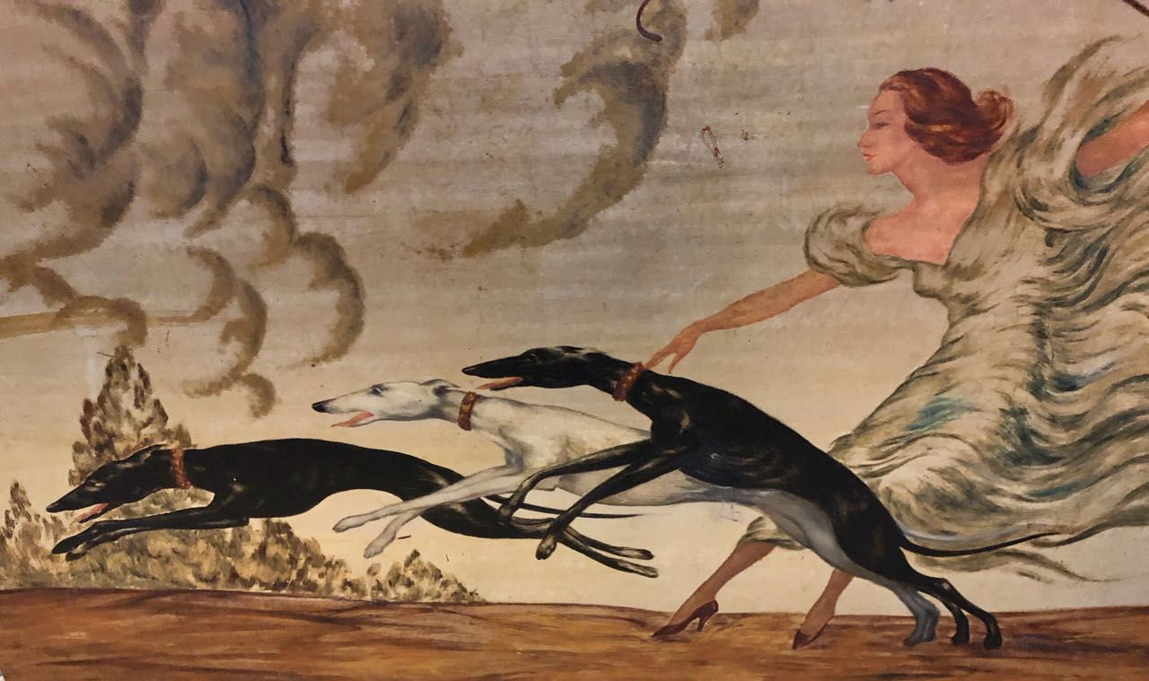 Art Deco Painting Woman and 3 Greyhounds by Yves Large