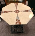 Art Deco Iron Table With Two-Tone Marble Inlay Top Custom