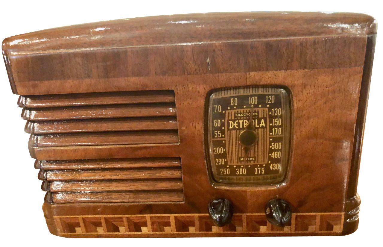 Antique Detrola Rare Fancy Wood Restored Bluetooth Tube Radio