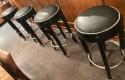 French Art Deco Style Bar Stools Custom Chrome and Black Ruhlmann