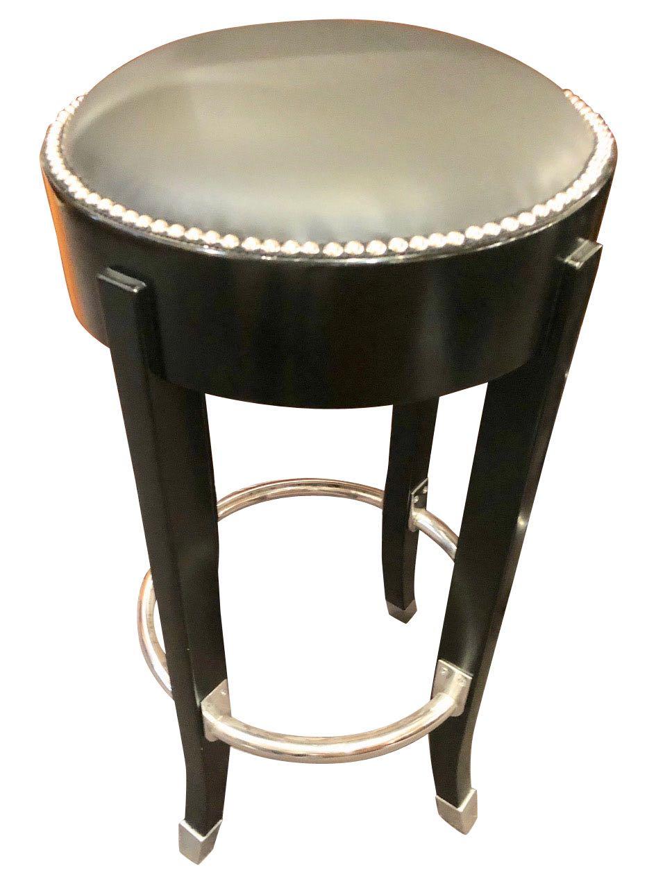 French Art Deco Style Bar Stools Custom Chrome and Black Ruhlmann Style