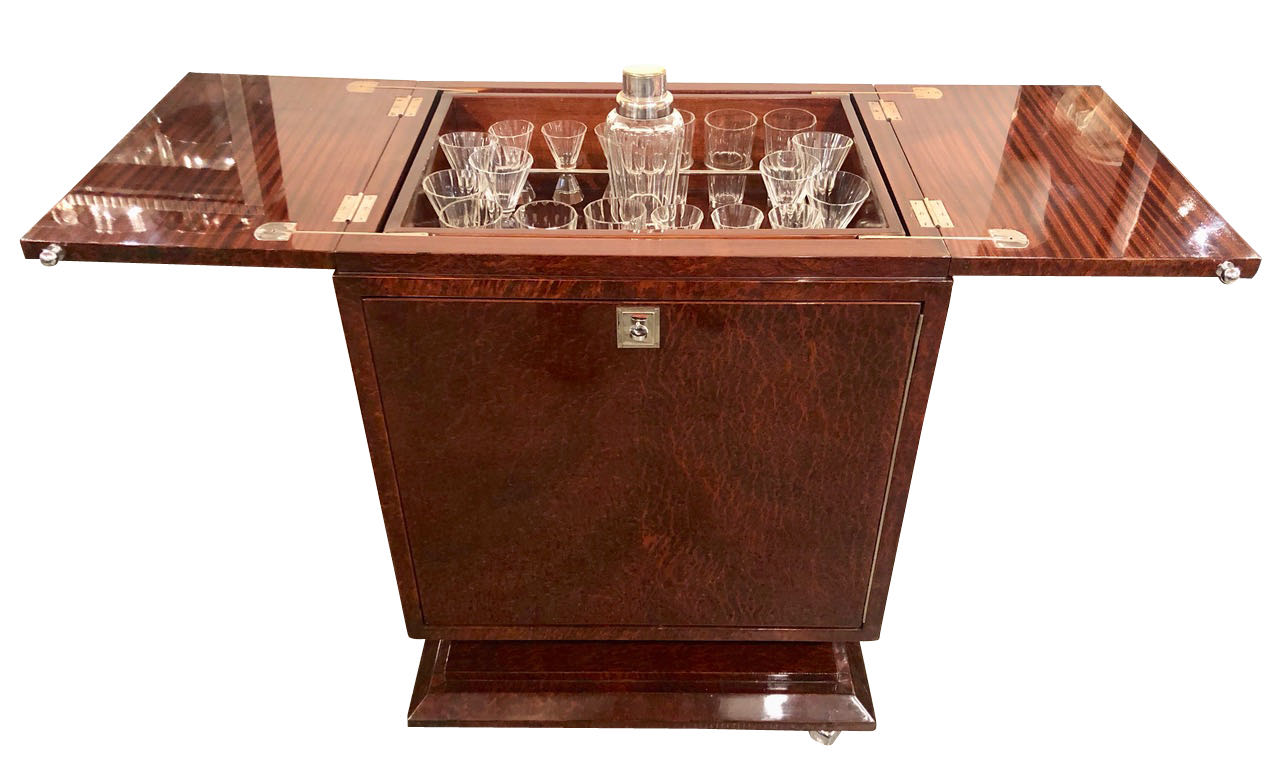 Art Deco French Style Pop Up Bar with Fluted Glassware