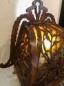 Dutch Arts and Crafts, Amsterdam School, scroll cut, Birch Lamp Mica 1920