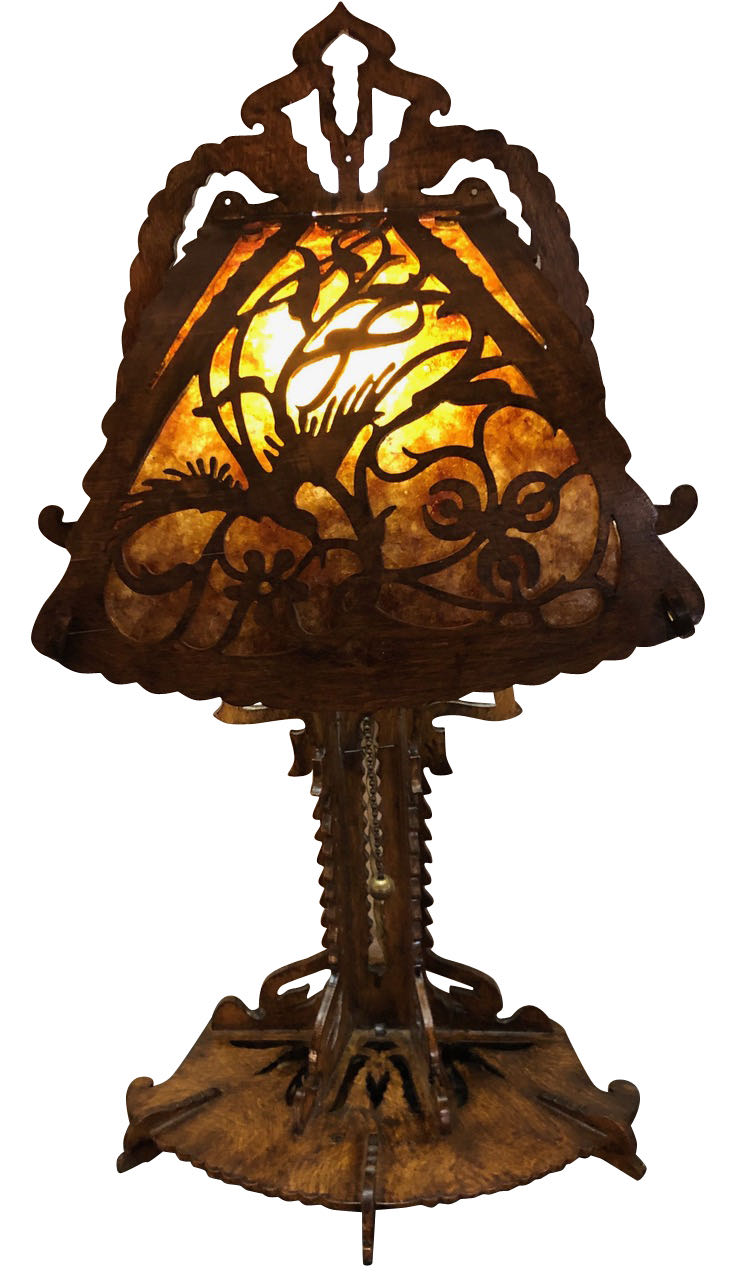 Dutch Arts And Crafts Amsterdam School Scroll Cut Birch Lamp Mica 1920 Table Lamps Art Deco Collection