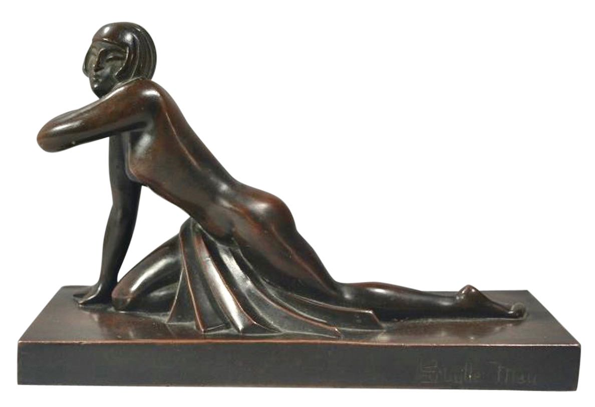 Art Deco Reclinig Female Form Bronze by Sibylie May