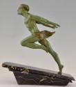 Art Deco Running Man Statue by L Valderi French
