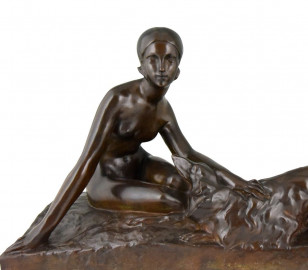 Georges Coste Art Deco Bronze of Woman with Borzoi