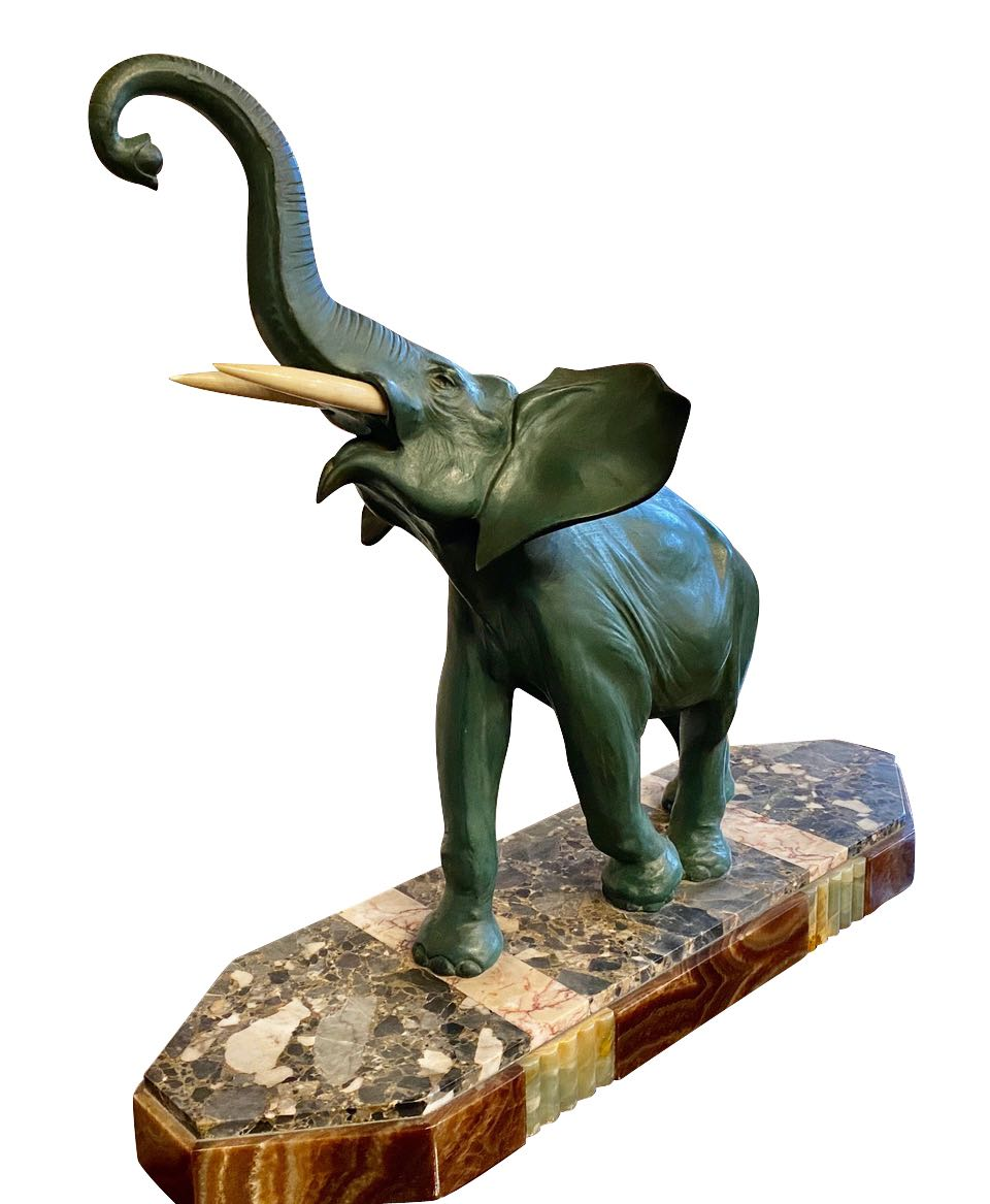 Art Deco Elephant Sculpture on Marble Styled Base