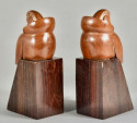 Art Deco Bookends of Parrots in Wood by George Laurent