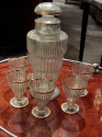 Czechoslovakian Crystal Decanter Set and Glasses from 1920's