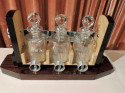 Art Deco Tantalus Decanter Set in Crystal, Wood and Chrome