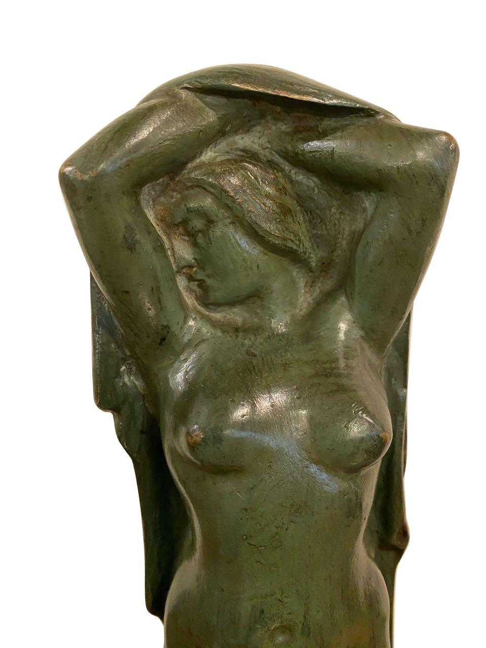 Art Deco Figure by Eugene Canneel Bronze 1930s