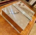 Art Deco Silver-plate Jewelry Box Modernist with Carnelian Stone