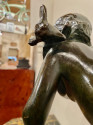 Ary Bitter Bronze Art Deco Sculpture Woman Running with Lambs