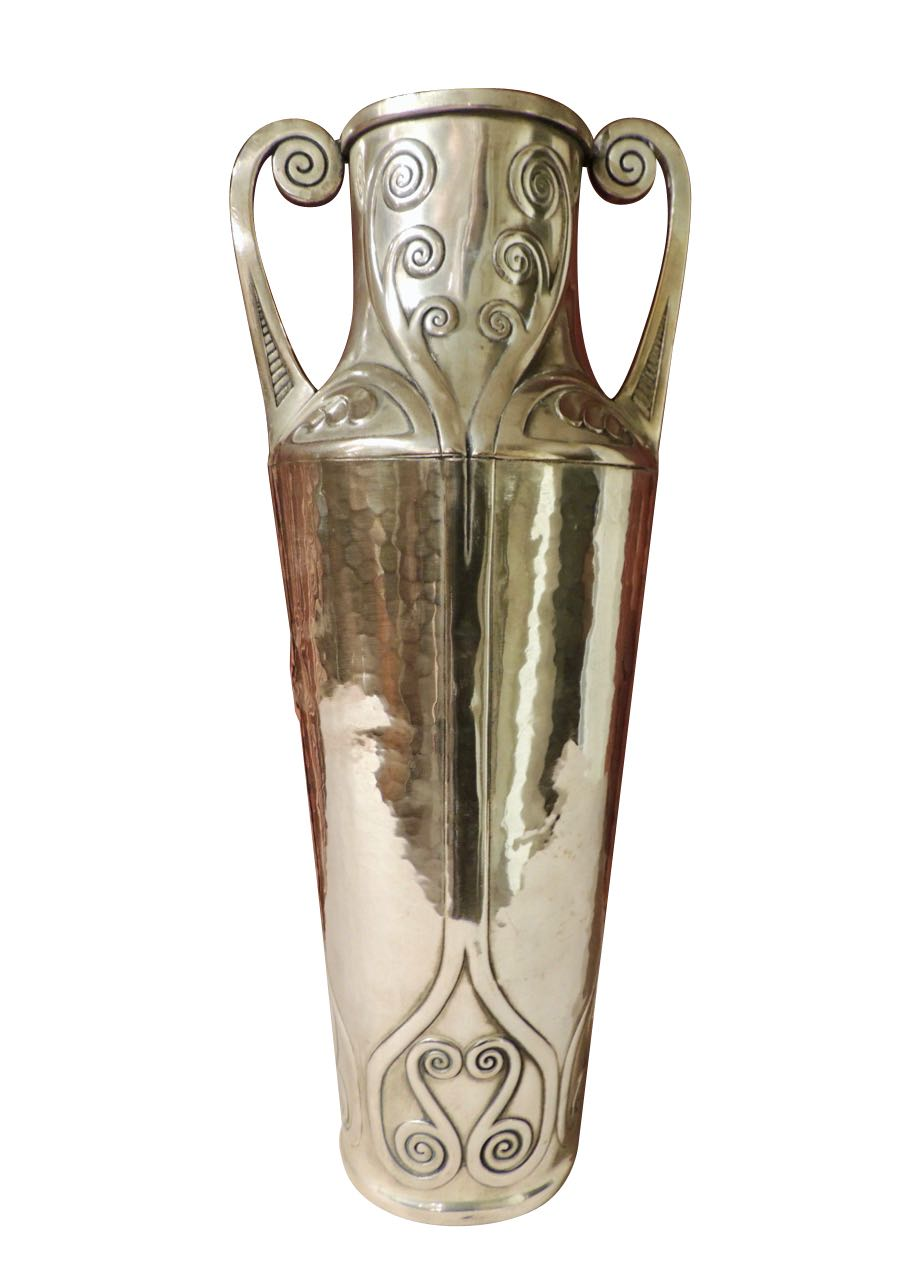 Art Nouveau Silver Vase with Hammered Details