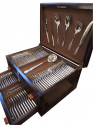Complete French Silverware Service  by Ravinet d' Enfert in Wooden Chest