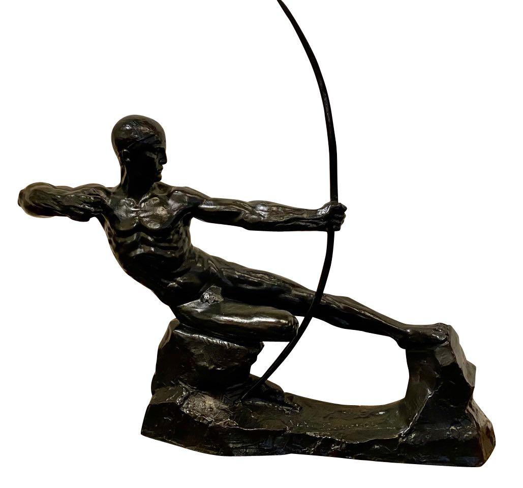 Art Deco Bronze Sculpture Male Nude Archer Hercules Victor Demanet 1925