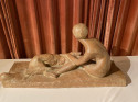 Georges Coste Art Deco  terracotta of Woman with Borzoi