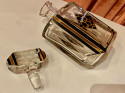 Art Deco Czech Decanter Glasses with Leopard Gold & Black Designs