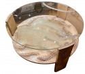 Sandblasted Glass Top Art Deco Coffee Table Silvered Wood Base