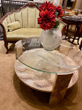 Sanblasted Glass Top Art Deco Coffee Table Silvered Wood Base