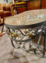 Hand Forged Iron Oval Custom Art Deco Coffee Table with Marble Top