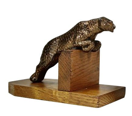Art Deco Metal Spotted Leopard Bookends on Wood Base