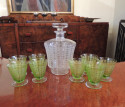 Baccarat Art Deco Decanter and Green Glasses