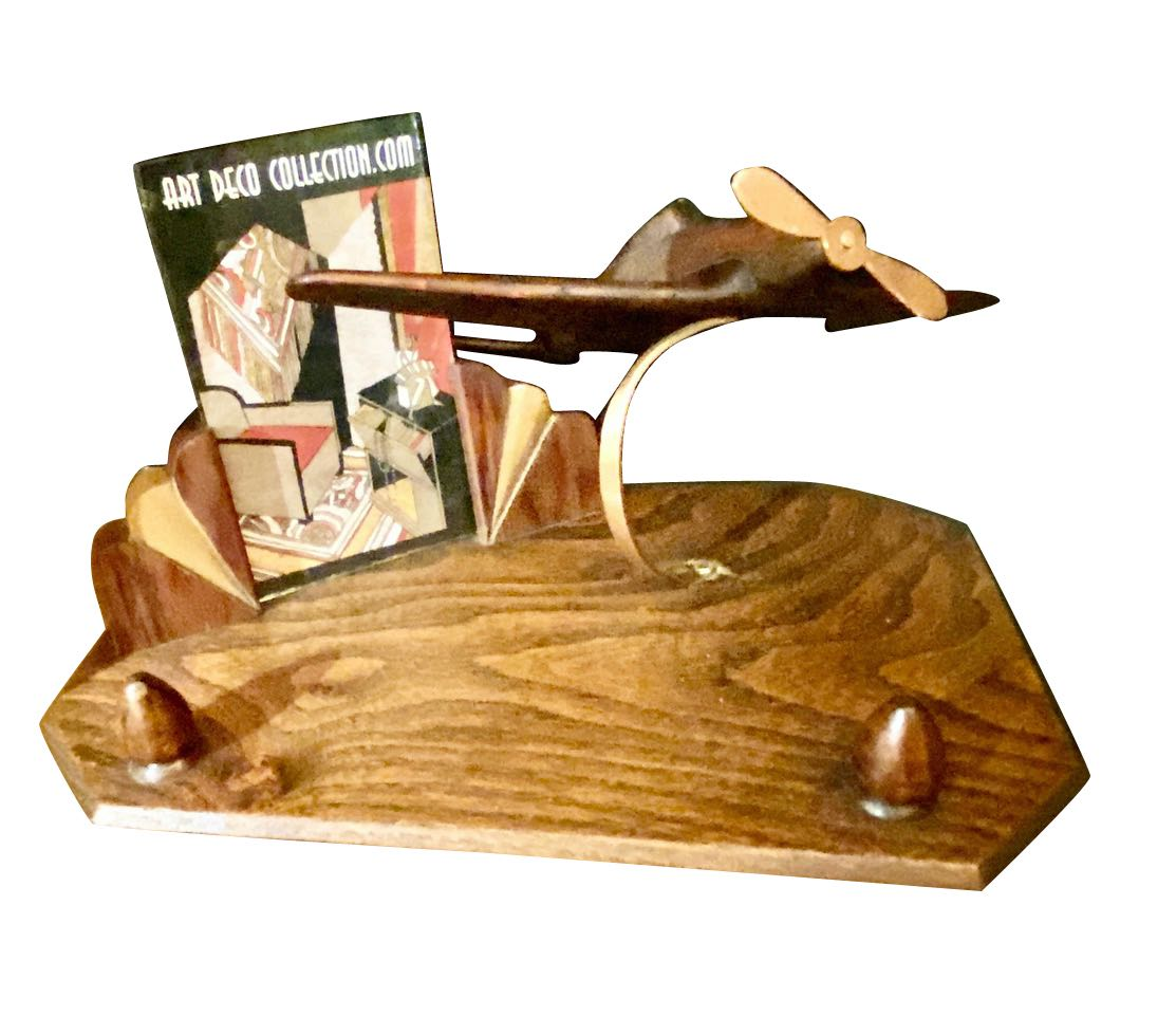 Pre-War Art Deco Wooden Airplane Stand with Picture Frame