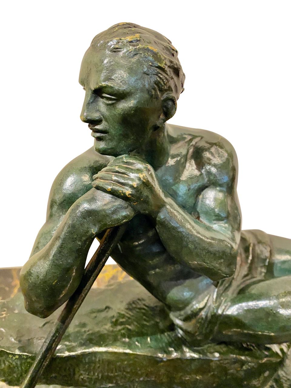 Pierre le Faguays French Sculptor Bronze Male Figure with Pole