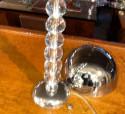 Adnet Designer Art Deco French Table Lamp Chrome Glass