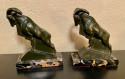 Max Le Verrier 1930s French Mountain Ram Sculpture Bookends