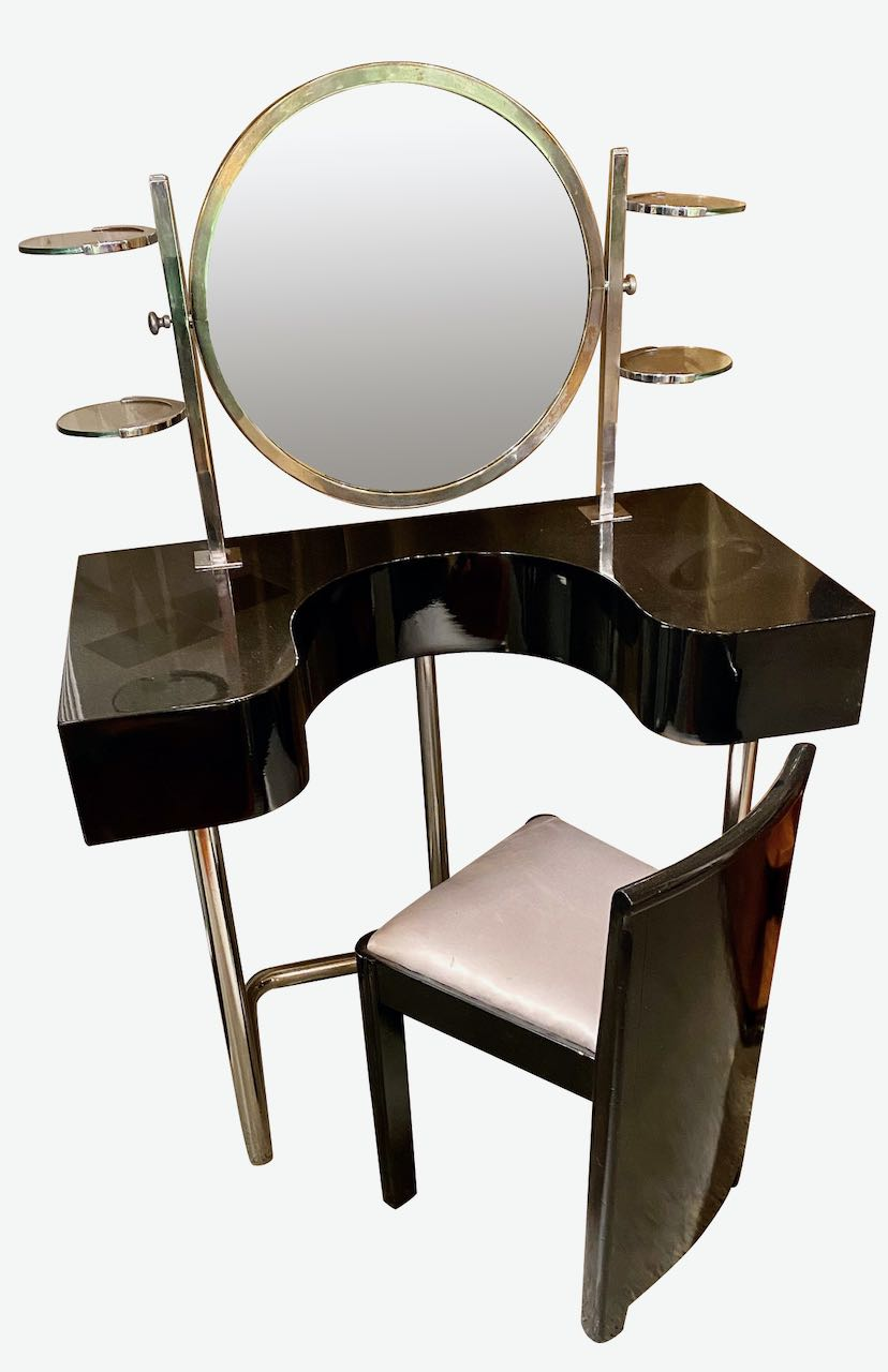 Bauhaus Style Vanity and Chair Black Lacquer Streamline