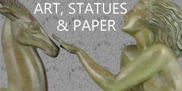 Art Deco Collection Art Statues and paper