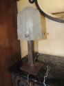 Art Deco Iron Lamp Muller Style Glass Shade