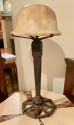 Art Deco Iron and Alabaster Table Lamp